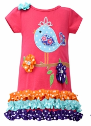 Bonnie Jean Little Girls Coral Knit Bird Dress