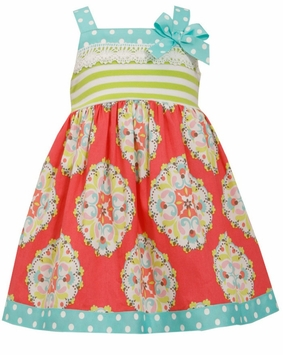 Bonnie Jean Little Girls Coral Lime Stripe Spring Dress - SOLD OUT