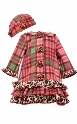 Bonnie Jean Little Girls Coral Plaid Coat and Hat Set  CLEARANCE