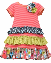 Bonnie Jean Little Girls' Coral Ruffle Dress