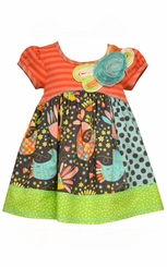 Bonnie Jean Little Girls Cotton Poplin Float Flower Trim Dress
