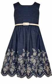 Bonnie Jean Little Girls Denim Scalloped Embroidered Hem Dress