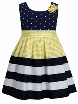 Bonnie Jean Little Girls Dot Stripe Banded Yellow Dress
