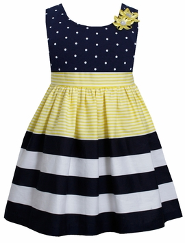 Bonnie Jean Little Girls Dot Stripe Banded Yellow Dress - OUT OF STOCK