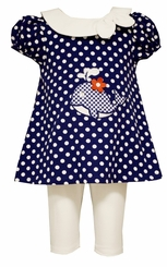 Bonnie Jean Little Girls Dotted Whale Tunic Legging Set