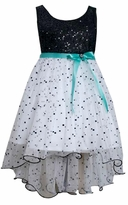 Bonnie Jean Little Girls Dress :  White Black Sequin Party Dress