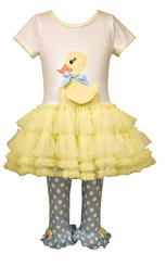 Bonnie Jean Little Girls Ducky Tutu Legging Set