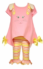 Bonnie Jean Little Girls Easter Bunny Face Legging Set