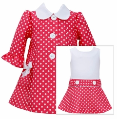 Bonnie Jean Little Girls Easter Dress Coral Dot Coat Dress