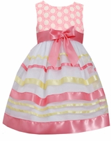 Bonnie Jean Little Girls Easter Dress : Coral Ribbon