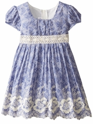 Bonnie Jean Little Girls Embroidered Chambray Emma Dress