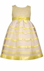 Bonnie Jean Little Girls Embroidered Circle Organza Satin Bow Dress