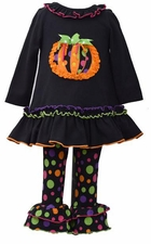 Bonnie Jean Little Girls Flared Polka Dot Pumpkin Pant Set
