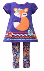 Bonnie Jean Little Girls' Floral Fox Legging Set
