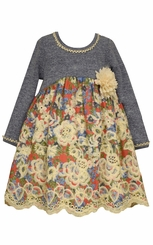 Bonnie Jean Little Girls Floral Print Voile Dress
