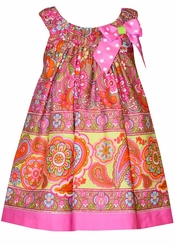 Bonnie Jean Little Girls Fuchsia Paisley Bow Sundress