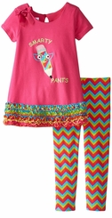 Bonnie Jean Little Girls' Fuchsia Smarty Pants Legging Set