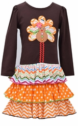 Bonnie Jean Little Girls Gingerbread Turkey Drop Waist Dress - sold out