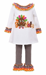 Bonnie Jean Little Girls Gobble Turkey Legging Set