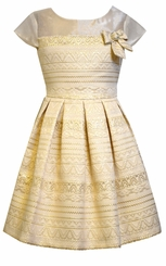 Bonnie Jean Little Girls Gold Brocade Party Dress