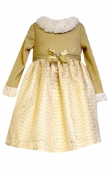 Bonnie Jean Little Girls Gold Knit Fur Trim Dress 2T - 6X