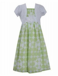 Bonnie Jean Little Girls Green Chiffon Pointelle Cardigan Dress