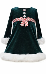 Bonnie Jean Little Girls Green Velour Peppermint Stripe Christmas Dress