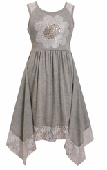 Bonnie Jean Little Girls Grey Daisy Hanky Hem Dress