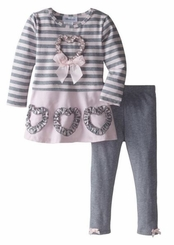 Bonnie Jean Little Girls Heart Stripe Legging Set  4T