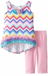 Bonnie Jean Little Girls' Hi Low Chevron Legging Set