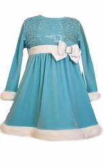 Bonnie Jean Little Girls Ice Blue Velour Sequin Dress