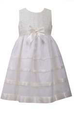 Bonnie Jean Little Girls Ivory Lace Ribbon Dress