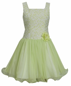Bonnie Jean Little Girls Lime Brocade Dress
