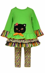 Bonnie Jean Little Girls Lime Felt Cat Applique Festive Pant Set
