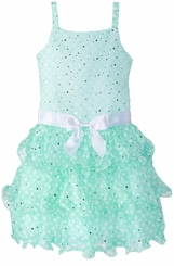 Bonnie Jean Little Girls' Mint Dot Chiffon Tiered Dress - SIZE 6 LAST ONE