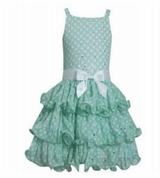 Bonnie Jean Little Girls' Mint Dot Chiffon Tiered Dress