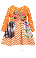 Bonnie Jean Little Girls Mix Panel Ribbon Turkey Dress - sold out