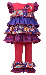 Bonnie Jean Little Girls' Multi Tiered Bright Legging Set