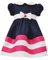 Bonnie Jean Little Girls' Nautical Navy Fuchsia Striped Dress