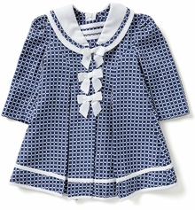 Bonnie Jean Little Girls Navy Check Coat and Dress Set