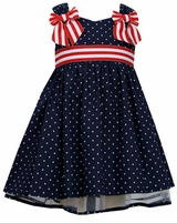 Bonnie Jean Little Girls Navy Dot Dress with Red White Ribbon
