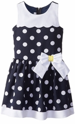 Bonnie Jean Little Girls Navy Dot Nautical Dress