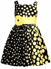 Bonnie Jean Little Girls Navy Dot Shantung Dress