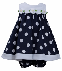 Bonnie Jean Little Girls Navy Nautical Daisy Dot Dress