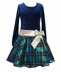 Bonnie Jean Little Girls Navy Plaid Dress