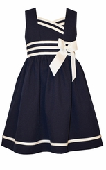 Bonnie Jean Little Girls Navy Poplin Nautical Dress