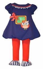 Bonnie Jean Little Girls Navy Teacher Owl Pant Set