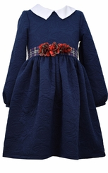 Bonnie Jean Little Girls Navy Textured Quilt Dress