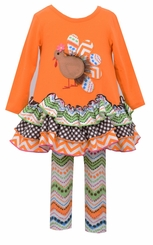 Bonnie Jean Little Girls Orange Chiffon Trim Turkey Legging Set