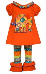 Bonnie Jean Little Girls Orange Elephant Applique Pant Set